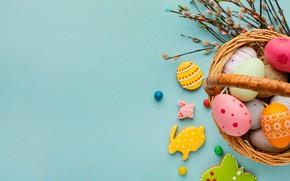 Картинка ветки, фон, яйца, печенье, Пасха, корзинка, крашенки