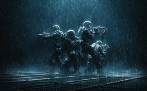 Картинка Special, Rain, Military, Illustration, Soldier, Characters, Forces, René Aigner, by René Aigner, Team Echo