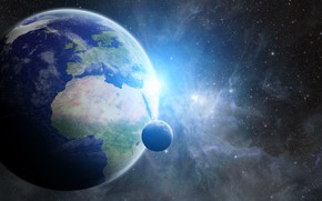Картинка light, moon, planet, rendering