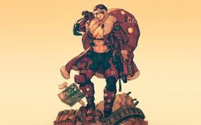 Картинка Девушка, Минимализм, Fantasy, Арт, Art, Merry Christmas, Секси, Santa, Киборг, Cyborg, Characters, Cyberpunk, Comic Art, …