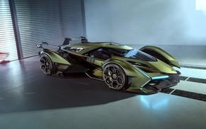 Картинка Lamborghini, Концепт-кар, Lambo, Диски, V12, Антикрыло, Vision Gran Turismo, 2019, Lambo V12 Vision