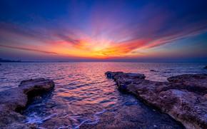 Картинка Средиземное море, море, Mediterranean Sea, восход, рассвет, Cyprus, Кипр