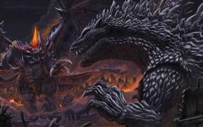 Картинка Город, Монстры, Битва, Разрушения, Годзилла, Арт, Art, Godzilla, Illustration, Кайдзю, Kaiju, by Elden Ardiente, Destroyers, …