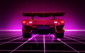 Картинка Lamborghini, Машина, Графика, 80s, Neon, Countach, Lamborghini Countach, 80's, Synth, Game Art, Retrowave, Synthwave, New …