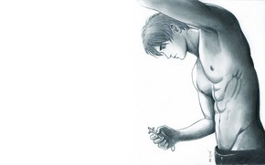 Картинка ключ, парень, Shingeki No Kyojin, Эрен Йегер, Атака титанов, рисунок карандашом, by redwarrior3