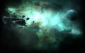 Картинка туманность, планета, Космос, space, космический корабль, eve online, space ship, космоопера