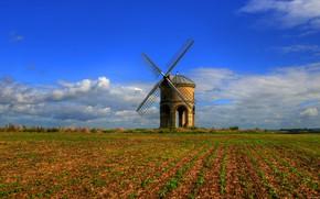 Картинка зелень, поле, осень, небо, трава, облака, природа, синева, Англия, даль, деревня, горизонт, простор, мельница, Великобритания, …
