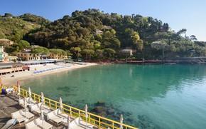 Картинка пляж, Италия, Лигурия, залив Параджи, район Портофино