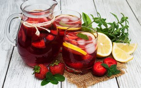 Картинка ягоды, лимон, стаканы, напиток, кувшин, лимонад, кубики льда
