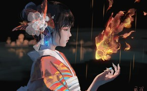 Картинка девушка, магия, азиатка