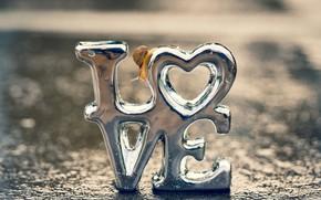 Картинка капли, макро, свет, любовь, буквы, фон, настроение, надпись, сердце, серебро, улитка, серебристый, сердечко, металлик, слово, ...