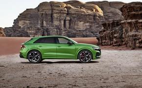 Картинка Audi, пустыня, вид сбоку, кроссовер, 2020, RS Q8
