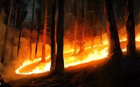 Картинка Рисунок, Огонь, Лес, Демон, Fantasy, Арт, Illustration, Demon, Priest, Dominik Mayer, Environments, by Dominik Mayer, …