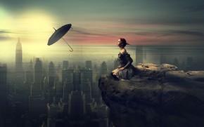 Картинка Девушка, Город, Стиль, Girl, City, Зонт, Арт, Umbrella, by Momen Mohammed, Momen Mohammed, Smooth Fantasy …