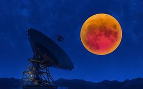 Картинка ночь, луна, затмение, Радиоинтерферометр