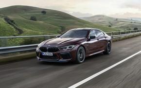 Картинка дорога, холмы, купе, BMW, 2019, M8, четырёхдверное, M8 Gran Coupe, M8 Competition Gran Coupe, F93