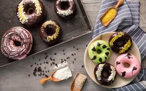 Картинка шоколад, пончики, ассорти