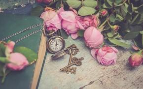 Картинка цветы, стиль, часы, розы, книга, розовые, ключи, бутоны