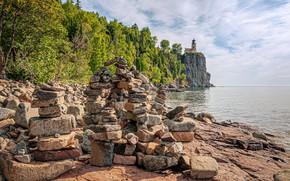 Картинка море, камни, фото, маяк, USA, North Shore Park