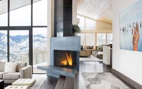 Картинка вилла, камин, гостиная, Mountain Star