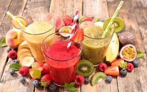 Картинка ягоды, малина, киви, черника, клубника, коктейль, фрукты, смузи, бынан