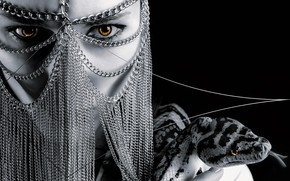 Картинка девушка, фон, змея