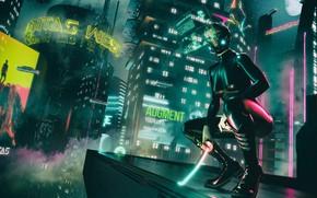 Обои Девушка, Музыка, Город, Меч, Фон, Латекс, Club, Cyber, Cyberpunk, Synth, Retrowave, Synthwave, New Retro Wave, ...