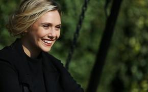 Картинка взгляд, поза, улыбка, актриса, smile, hair, look, pose, actress, Elizabeth Olsen, Элизабет Олсен
