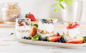 Картинка ягоды, завтрак, орехи, йогурт, овсянка, гранола