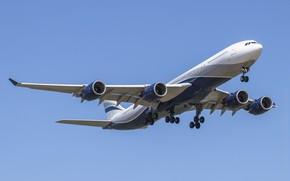 Картинка фон, самолёт, летит, Airbus a340-541