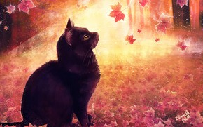Картинка Рисунок, Кошка, Осень, Листья, Кот, Арт, Cat, Illustration, Животное, Cats, Elisabeth Aarebrot Madsen, by Elisabeth …