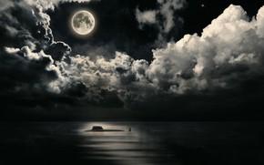 Картинка море, луна, подлодка, Ясень
