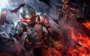 Картинка фон, огонь, голова, рыцарь, Goblin Slayer, Убийца гоблинов