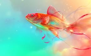 Картинка ленты, фон, рыбка