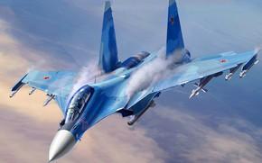 Картинка ОКБ Сухого, ВВС России, поколения 4+, Су-30СМ, серийный модернизированный, ВКС России, российский двухместный многоцелевой истребитель