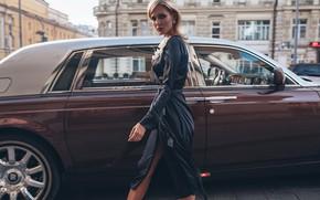 Обои машина, авто, девушка, стиль, модель, Rolls-Royce, платье, Roma Roma, Оксана Стрельцова