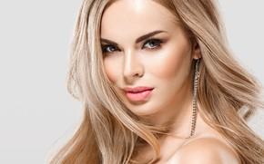 Обои взгляд, макияж, блондинка, woman, beautiful, blonde