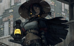 Картинка girl, sword, fantasy, rain, hat, katana, samurai, digital art, artwork, warrior, building, fantasy art, lantern, …