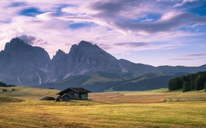 Картинка house, grass, sky, trees, field, landscape, Italy, nature, mountains, clouds, Alps, South Tyrol, Dolomites, far …