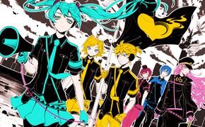 Картинка флаг, Vocaloid, Вокалоид, персонажи, Рин, Хатсуне Мику, Лен