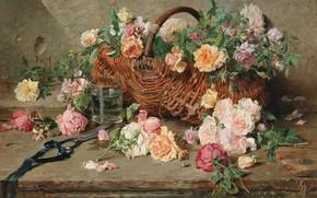 Картинка французский живописец, French painter, oil on canvas, Франсуа-Адольф Грисо, Francois Adolphe Grison, Натюрморт из роз …