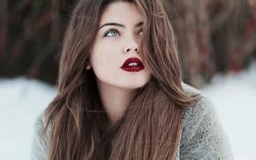 Картинка girl, green eyes, long hair, brown hair, photo, photographer, model, bokeh, lips, face, coat, brunette, …