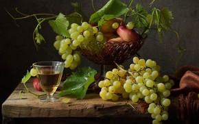 Картинка вино, бокал, виноград, персики