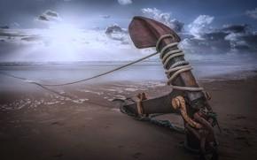Картинка beach, sea, rope, anchor, sailor anchor