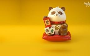 Картинка игра, арт, панда, маджонг, Lucky Panda, Jane Ye