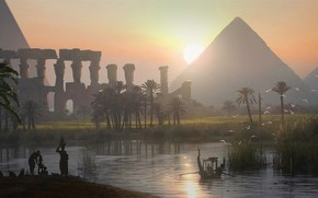Картинка пирамида, египет, Raphael Lacoste, Истоки, Assassin's Creed Origins, Dusk on the Nile Valley