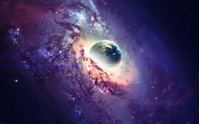Картинка Звезды, Пыль, Планета, Космос, Арт, Stars, Space, Art, Planet, Фантастика, Fiction, Birth, Dust, Рождение, Vadim …
