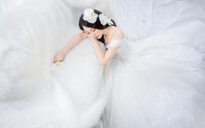 Картинка девушка, цветы, поза, стиль, белое, руки, брюнетка, прическа, красавица, мех, азиатка, орхидеи, сидит, светлый фон, …