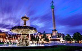 Картинка город, здания, вечер, Германия, освещение, площадь, фонтан, Штутгарт, Schlossplatz, Замковая площадь