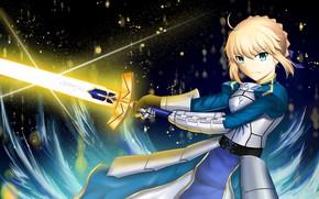 Картинка девушка, ночь, меч, сейбер, Артурия Пендрагон, Судьба ночь схватки, эскалибур, Fate / Stay Night